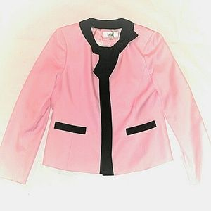 Le Suit VTG  Blazer Jacket Pink Black Bow Coat 10